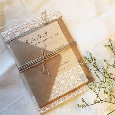 Lace Pearl Wedding Invitation, Burlap Wedding Invitations,Eco Wedding Invitation, Country Wedding invitation, Shabby Chic Invitation by eryastudio on Etsy https://www.etsy.com/listing/272806548/lace-pearl-wedding-invitation-burlap