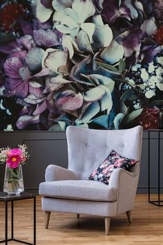 Purple floral clipart wallpaper home decor wall Wall Wallpaper, Peel And Stick Wallpaper, Adhesive Wallpaper, Wall Decor Stickers, Wall Decals, Flower Wall Design, Mural Floral, Purple Bedrooms, Clipart