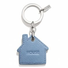 COACH © Leather House Key Chain in Silver/Washed Oxford