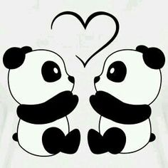 Cute Drawings: Bears, teddy bears and pandas Cute Panda Drawing, Cute Kawaii Drawings, Cool Art Drawings, Cute Animal Drawings, Love Drawings Couple, Teddy Bear Drawing, Cute Drawings Of Love, Heart Drawings, Puppy Drawing