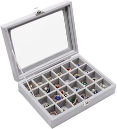 Amazon.com: Stylifing Clear Lid Velvet 24 Grid Jewelry Tray Stackable Jewelry Display Showcase Lockable Jewelry Organizer Box Gifts for Girls Women (24 Grid Grey): Home & Kitchen Jewelry Tray, Jewellery Display, Rock Box, Display Showcase, Organiser Box, Color Names, Jewelry Organization, Gifts For Girls, Grid