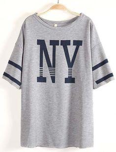 Grey Batwing Sleeve NY Print Loose T-Shirt - Sheinside.com