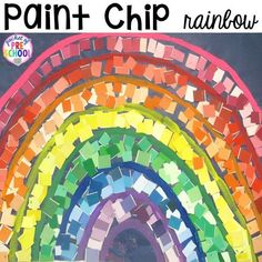 Paint chip rainbow is a fun fine motor and cutting activity for preschool, pre-k, and kindergarten! Plus more St. Patrick's Day Centers and Activities - Pocket of Preschool
