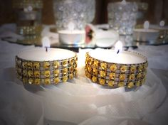 Rhinestone tealights 25 Rhinestone candles by EventbyEunice, $8.00