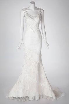 Luxurious Sheath Wedding Dress with Glamorous Lace Overlay and Tassels by pronovias-style-yadarola