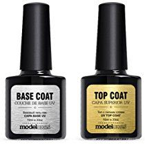 New Modelones Top and Base Coat Gel Polish,Soak Off UV LED Gel Nail Polish Kit 10ml