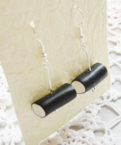 Earrings black liquorice allsorts polymer clay by poppyshome
