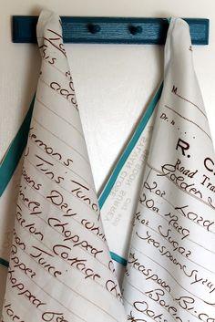 printing nana's recipes on a tea towel