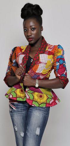 African Print Patchwork Jacket. A unique African Print Patchwork Jacket, made…