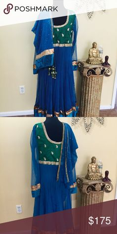 Green blue crystal anarkali Indian dress large nwt Large anarkali 3 piece Indian dress outfit green and blue w crystal embroidery ships from New Jersey includes free alterations Dresses