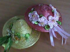 (58) Соломенные шляпки на заколочках с цветами канзаши для наших принцесс - YouTube