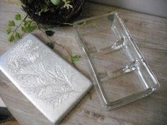 vintage chrysanthemum Glass and aluminum Condiment tray ... restaurant ... desk organizer .... office. $21.00, via Etsy.