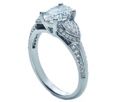 Oval Diamond Engagement Ring Pear side stones - ES1087