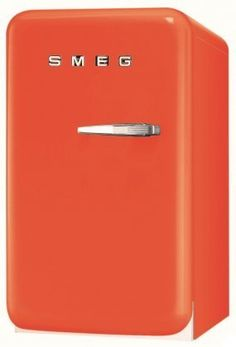 Smeg 16 Inch Retro Style Series Compact Refrigerator with cu. Capacity, Absorption Cooling, Automatic Defrost, LED Interior Lighting and Adjustable Shelves, in Orange with Left Hinge Retro Refrigerator, Retro Fridge, Wire Shelving, Adjustable Shelving, Black Mini Fridge, Led Ice Cubes, Retro Appliances, Kitchen Refrigerators, Balcony Doors