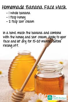Try this easy, home-made, Banana Face Mask and say goodbye to dry and dull skin! Mash a banana and add a tablespoon of honey and two tablespoons of sour cream in it. Now, mix this and apply the paste on your face. Let it dry for 15-20 minutes before rinsing it off. This pack will help to restore your face's lost moisture. What's more? It will unclog your skin pores and allow them to breathe. #DIY #DIYBeauty #SkinCare #HealthySkin #FaceMask #BeautyRecipes #AllNatural…