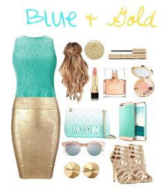 """""""Blue & Gold"""" by victoriafiocco ❤ liked on Polyvore featuring Le Specs, Moschino, Shoshanna, Eddie Borgo, Posh Girl, Steve Madden, tarte, Lancôme, Givenchy and Dolce&Gabbana"""