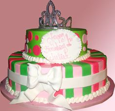 Custom Birthday Cake. Watermelon princess cake with a tiara.    Palermo's Bakery creates custom cakes, wedding cakes, birthday cakes, graduation cakes, cake pops, cupcakes, cookies, custom dessert tables and serves the New Jersey/New York Area