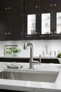 Kohler Galley Sink : Two sink-and-faucet workspaces double the efficiency in this expansive ...