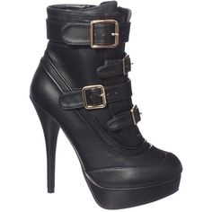 Jane Norman Strappy Buckle Boots ($38) ❤ liked on Polyvore featuring shoes, boots, ankle booties, heels, black, ankle boots, black booties, platform booties, black bootie and black platform booties