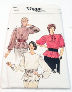 """1980s Gathered Sleeve Turtle neck Bow Blouse Peplum top sewing pattern Vogue 8806 Size 8 Bust 31.5"""" UNCUT FF by retroactivefuture on Etsy"""