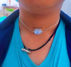 Moonstone Necklace, 925 Silver Pendant, June Birthstone, Blue Flash Necklace, Healing Crystal Necklace, Rainbow Moonstone Jewelry