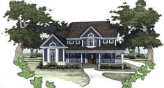 This plan is loaded with charm. The large open kitchen looks out to the breakfast Nook and Family Room.