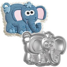 Find Novelty Cake Pans by Wilton. These include a huge variety of shaped pans, from Disney to sports to palm tree and castle cake pans. Great for birthdays and theme parties. Elephant Cakes, Elephant Party, Elephant Birthday, Elephant Baby Showers, Wilton Cake Decorating, Cake Decorating Tools, Decorating Ideas, Decorating Supplies, Bolo Fondant
