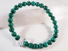 Malachite and Herkimer Diamond Stretch Bracelet 6mm Smooth Round Gemstone Beads by SandiLaneFineArt on Etsy