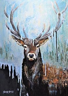 Lord of the Forest - Stag - Peurapukki by Louise Charles-Saarikoski Acrylic ~ 70 cm x 50 cm #stag #buck #peura #peurapukki #suomenluonto #taide #eläinmaalari #abstract #animalart
