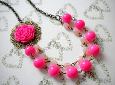 Pink Fuschia Necklace Two Strand Flower Necklace by elinacreations, $32.00