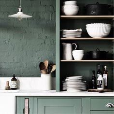 Green colours in kitchen