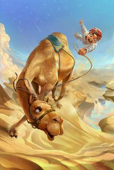 Foto - Animali, disegni e dipinti, persone, giallo, ragazzi e uomini, di Wanchana Intrasombat, Cammelli, Deserti