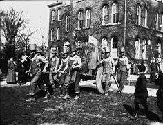 Engineering students at the University of Missouri carry the Blarney Stone during Engineer's Week ceremonies in 1908.