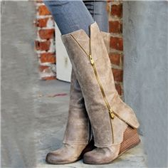 ericdress.com offers high quality  High-class Wedge Knee High Boots with Zipper Knee High Boots unit price of $ 99.89.
