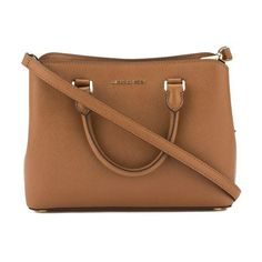 Pre-Owned Michael Kors Tan Saffiano Leather Medium Savannah Satchel (€235) ❤ liked on Polyvore featuring bags, handbags, brown, brown satchel purse, michael kors purses, hand bags, brown satchel handbag and tan satchel handbags