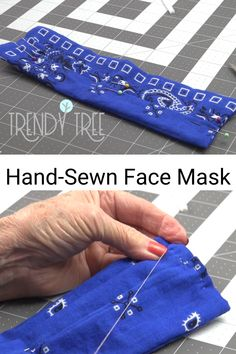DIY How to Make a Hand Sewn Face Mask with Fabric Bandana You can make a hand sewn face mask when you don't have a sewing machine. Not everyone has a sewing machine or access to one, and may never want one! Easy Face Masks, Best Face Mask, Diy Face Mask, Mesh Ribbon, Diy Ribbon, Sewing Hacks, Sewing Projects, Sewing Tips, Sewing Ideas