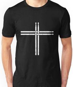 Christian Drum Stick Cross TShirt Funny Drummer Unisex T-Shirt Drummer T Shirts, Mens Black Shirt, Cross Shirts, Tee Shirt Designs, Christian Shirts, Drum Tattoo, Drum Stick Tattoo, Cute Shirts, Printed Shirts