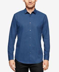 CALVIN KLEIN Calvin Klein Men's Diamond Pattern Long-Sleeve Shirt. #calvinklein #cloth #down shirts