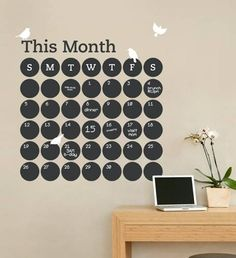 Daily Dot Chalkboard Wall Calendar [Vinyl Wall Decal] // Etsy -- what a cute idea! I don't know why I love Vinyl Wall Decals, but I do!