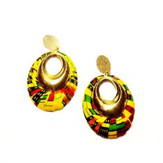 Valentines Day Gift, Large Kente Fabric Earrings / African Jewelry / Fabric Covered / Kente Fashion Accessories/ Small Gifts /Girlfriend