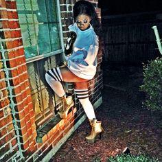 BMW sweatshirt, disco american apparel black short, thigh high tube socks, ZIGIny  Gold Booties #ClassyYetStreet