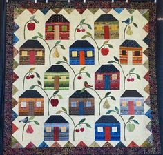 """""""QC Block of the Month"""" by Patty Henry, quilted by Jami Herndon. 3rd place award.  2015 Boise Basin Quilters Guild show."""