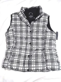 Faded Glory Bubble Puffer Vest Black & White Plaid Womens Size Small (4-6) New - The Ivy Vine Resale Store #eBay #FadedGlory #PufferVest