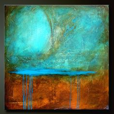 """Abstract painting, contemporary, modern fine art.  Turquoise, aqua, copper, brown.  """"Bronzed Nickel"""""""