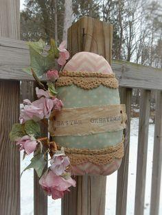 FoLk Art PrimiTive Spring GruNgy EASTER EGG Pillow Door HanGer OrNies DecoraTion #PrimitiveLook #MelissaHarmon