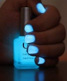 Crack a glow stick, cut it open and pour it into clear nail polish. Voila!!