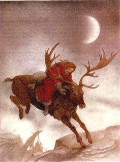 """Saule, the Slavic Goddess of light and family went across the heavens in a sleigh pulled by female reindeer and threw pebbles of amber into the chimneys of the people. (Amber being the representative of the tears of the sun.)"""