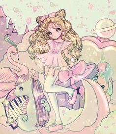 .✮ ANIME ART ✮ anime. . .pastel. . .chibi. . .dress. . .garters. . .thigh high…