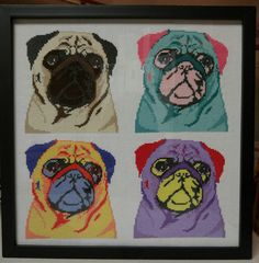 """glitchemon: """" My finished pug cross stitch! I'm very very proud of this one; it took so much time but it looks beautiful. The pattern can be found here:..."""