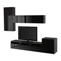 BESTÅ Kombinacja na TV/szklane drzwi IKEA Szuflady i drzwiczki zamykają się cicho i delikatnie dzięki zintegrowanej funkcji płynnego domykania.